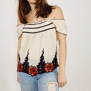 Anthropologie Anna Sui Ivory Embroidered Top